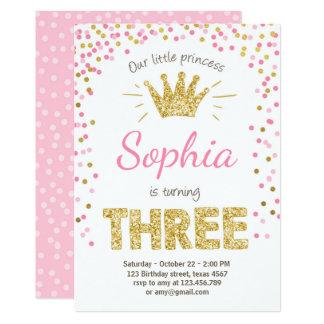 Third birthday invitation Princess Gold Pink Three