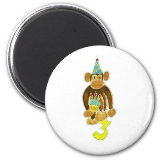 Third Birthday Monkey 6 Cm Round Magnet
