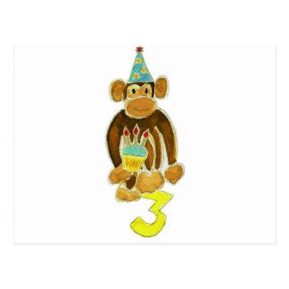 Third Birthday Monkey Postcard