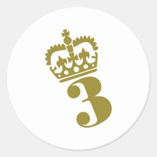 Third Birthday - Number – 3 Round Sticker