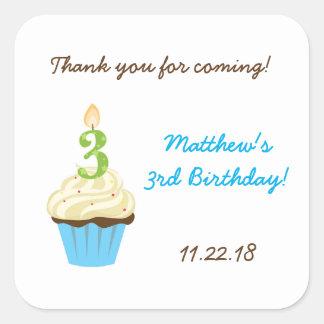 Third birthday party favor sticker / blue cupcake