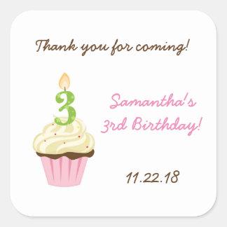 Third birthday party favor sticker / pink cupcake