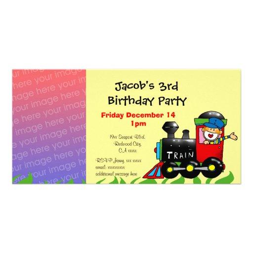 Third birthday party toy train boy customized photo card