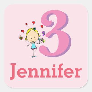 Third Birthday, Three Year Old, Girl Square Sticker