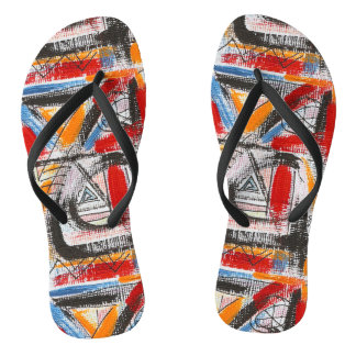 Third Eye-Hand Painted Abstract Art Flip Flops