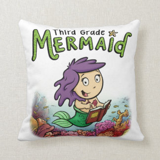 Third Grade Mermaid Throw Pillow (design 1)
