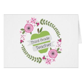 Third Grade Teacher Floral Wreath Green Apple Greeting Card