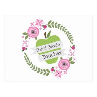 Third Grade Teacher Floral Wreath Green Apple Postcard