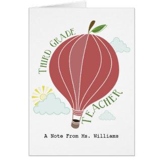 Third Grade Teacher Hot Air Balloon Apple Greeting Card