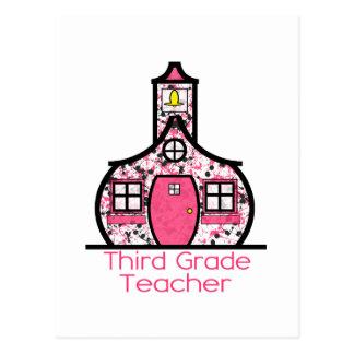 Third Grade Teacher Paint Splatter Schoolhouse Postcard