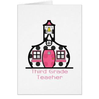 Third Grade Teacher Polka Dot Schoolhouse Greeting Card
