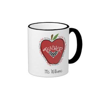 Third Grade Teacher Red Apple Ringer Mug