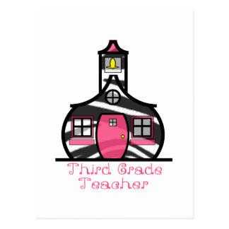 Third Grade Teacher Zebra Print Schoolhouse Postcard