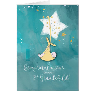 Third Grandchild Congratulations, Baby in Stars Card