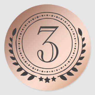 Third Place Honor Bronze Medal on Bronze Gradient Classic Round Sticker