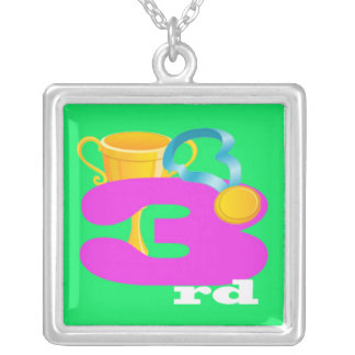 Third Prize Medal Square Pendant Necklace