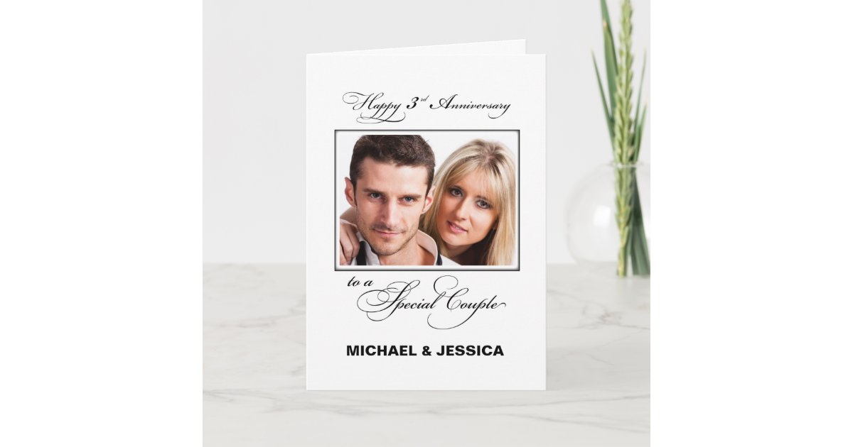 Third Wedding Anniversary Custom Name Photo Card Zazzle Co Uk
