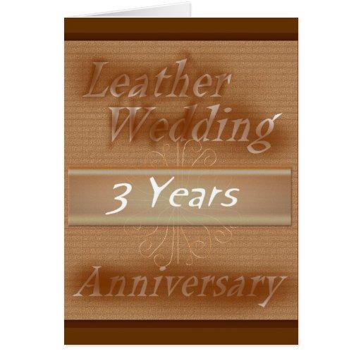 Third wedding anniversary leather greeting card zazzle