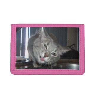 Thirsty Cat Drinking From Kitchen Tap, Tri-fold Wallets