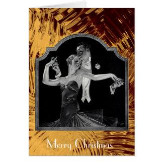 Thirties Dancing Deco Gold Happy Holidays Greeting Card