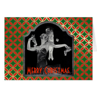 Thirties Dancing Deco Red and Green Christmas Card