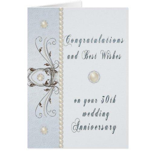 Thirtieth Wedding Anniversary Greeting Card