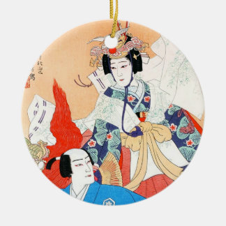 Thirty-six Kabuki Actors Portraits - Two Dancers Double-Sided Ceramic Round Christmas Ornament