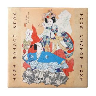 Thirty-six Kabuki Actors Portraits - Two Dancers Small Square Tile