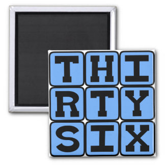 Thirty Six Number 36 Refrigerator Magnets