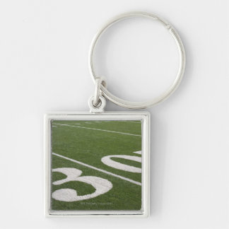 Thirty yard line Silver-Colored square key ring