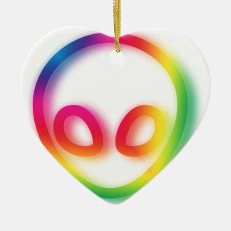 This Alien isn't Gray - its Hip ! Ceramic Heart Decoration