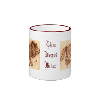 This beast bites sepia coffee mug