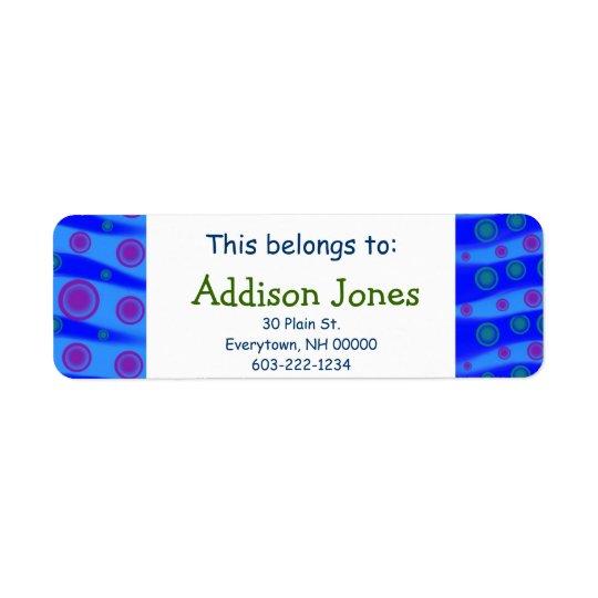 This belongs to: Kids Custom Name Blue Waves Pink Return Address Label