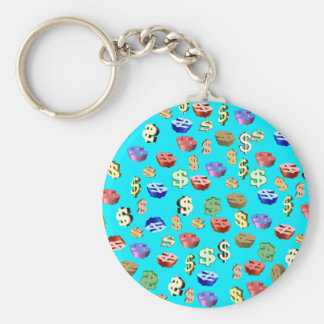 This Blue $ Signs Basic Round Button Key Ring