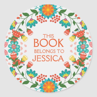 This Book Belongs Floral Wreath Classic Round Sticker