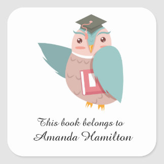 This book belongs to Academic Owl Square Sticker