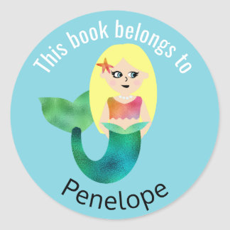 This Book Belongs To Blonde Faux Foil Mermaid Round Sticker