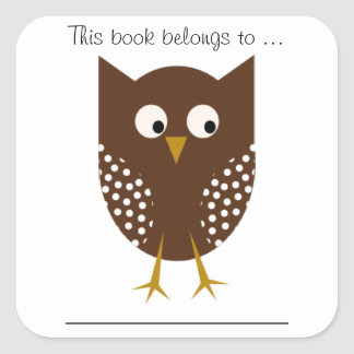 This book belongs to ... (Brown Owl, Large) Square Sticker