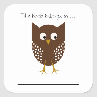 This book belongs to ... (Brown Owl) Square Sticker