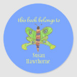 """""""This book belongs to"""" butterfly bookplate Round Sticker"""