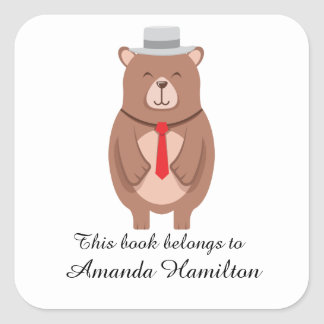 This book belongs to Cute Elegant Bear Square Sticker