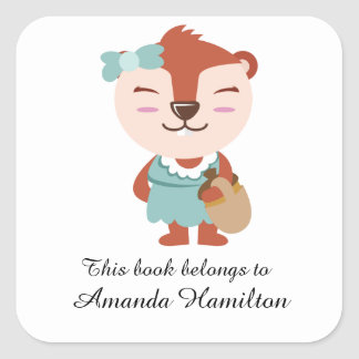 This book belongs to Cute Funny Squirrel Square Sticker