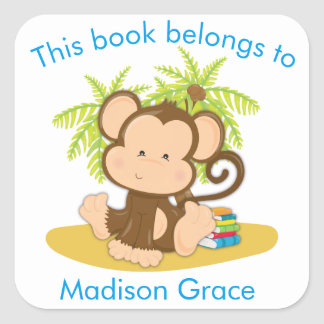 This Book Belongs To Cute Monkey Bookplate Square Sticker