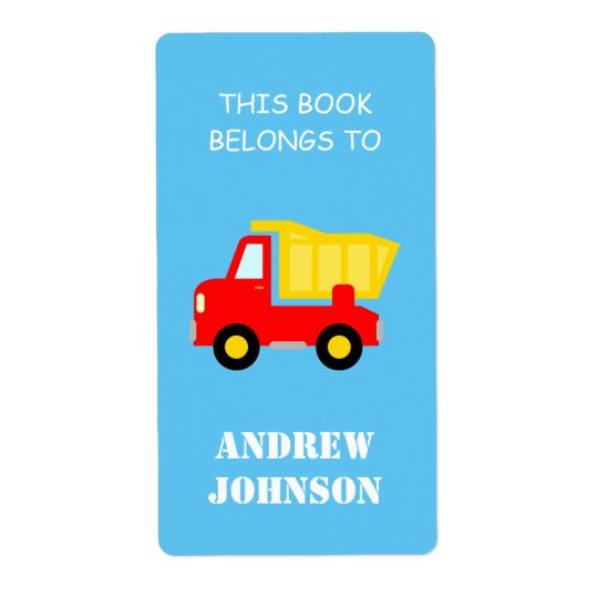 This book belongs to dump truck bookplate labels