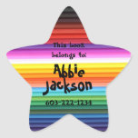 This book belongs to-Fun Stripes Kids Custom Name Star Sticker