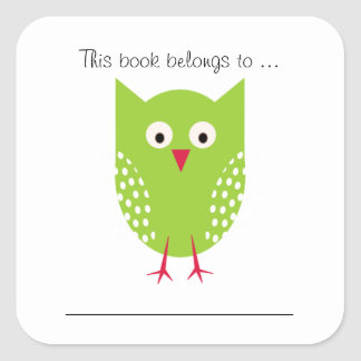 This book belongs to ... (Green Owl) Square Sticker