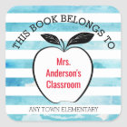 This Book Belongs to I Apple & Watercolor Stripes Square Sticker