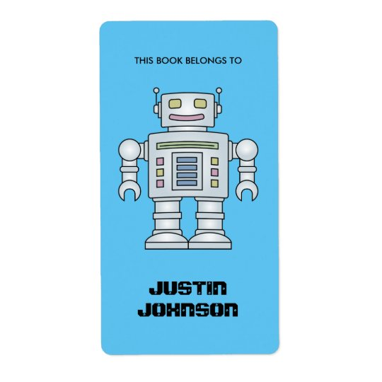 This book belongs to kids robot bookplate labels