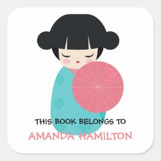 THIS BOOK BELONGS TO Kokeshi Doll Japanese Geisha Square Sticker