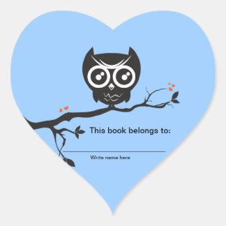 This book belongs to - Owl Bookplates Heart Sticker